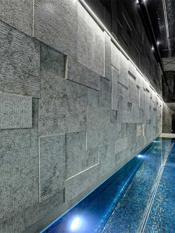 3D wall in Grigio Alpini for private SPA in London